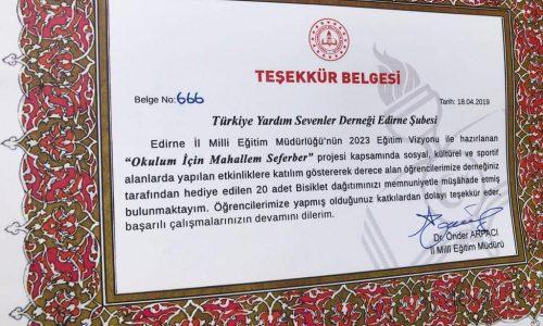 TYSD Edirne Şubemizden Çocuklarımıza 23 Nisan Hediyesi