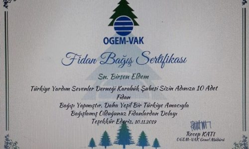 TYSD Karabük Şubemizden Merhum Genel Başkanımız Adına Fidan Bağışı
