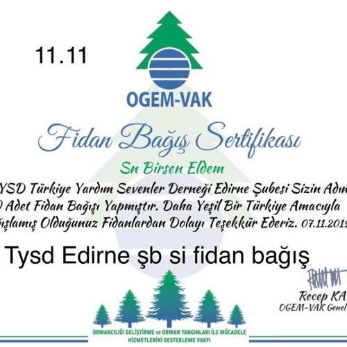 TYSD Edirne Şubemizin Ekim ve Kasım Ayı Etkinlikleri