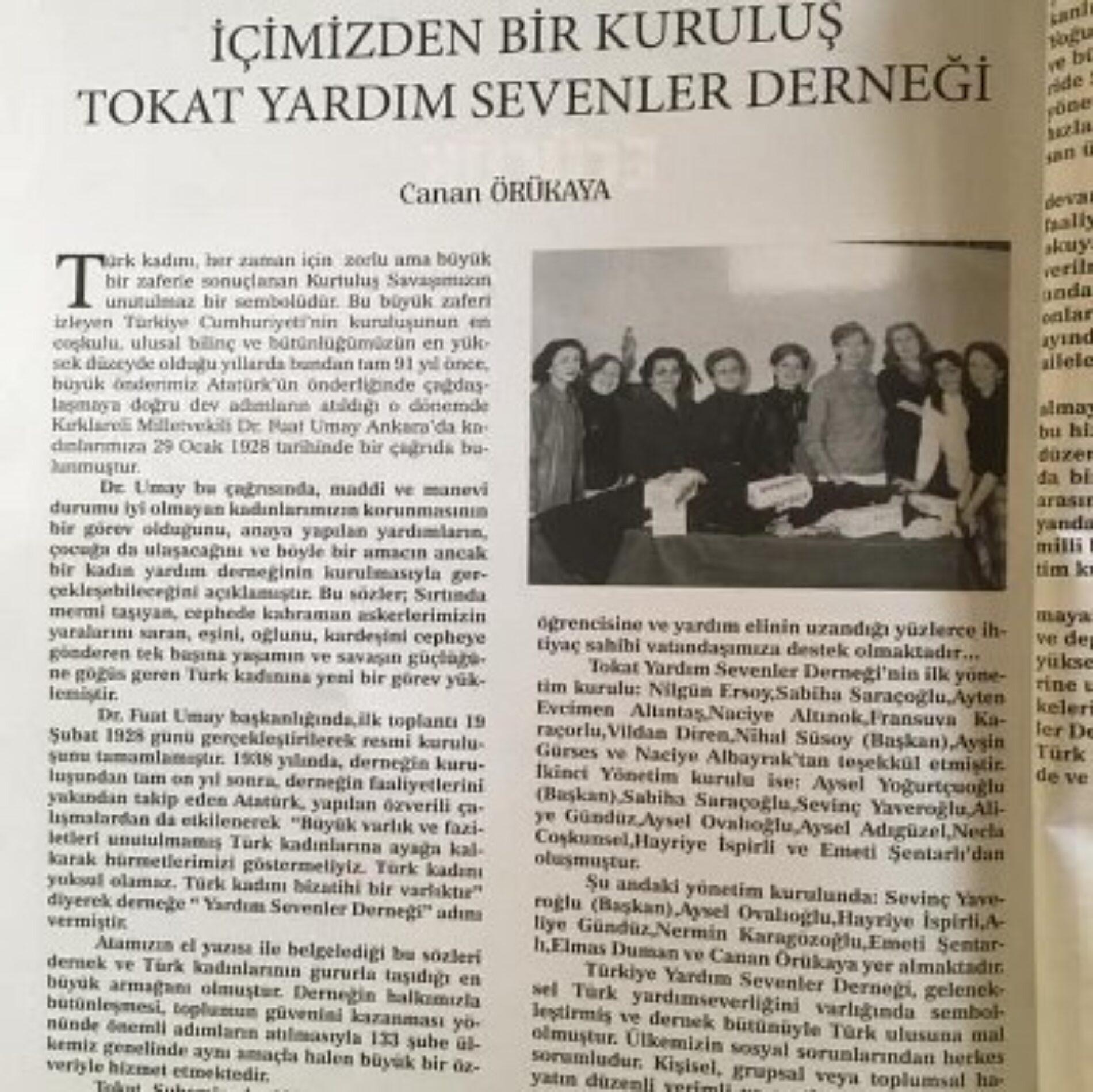 TYSD Tokat Şubemiz Kümbet Dergisinde