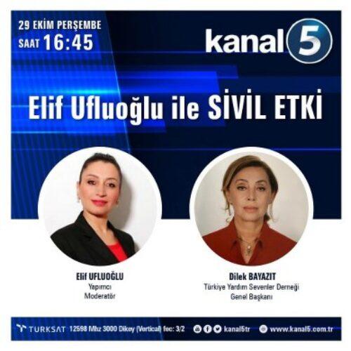 TYSD Genel Merkezimiz 29 Ekim Cumhuriyet Bayramımız İçin Kanal 5 Ekranlarında Olacak