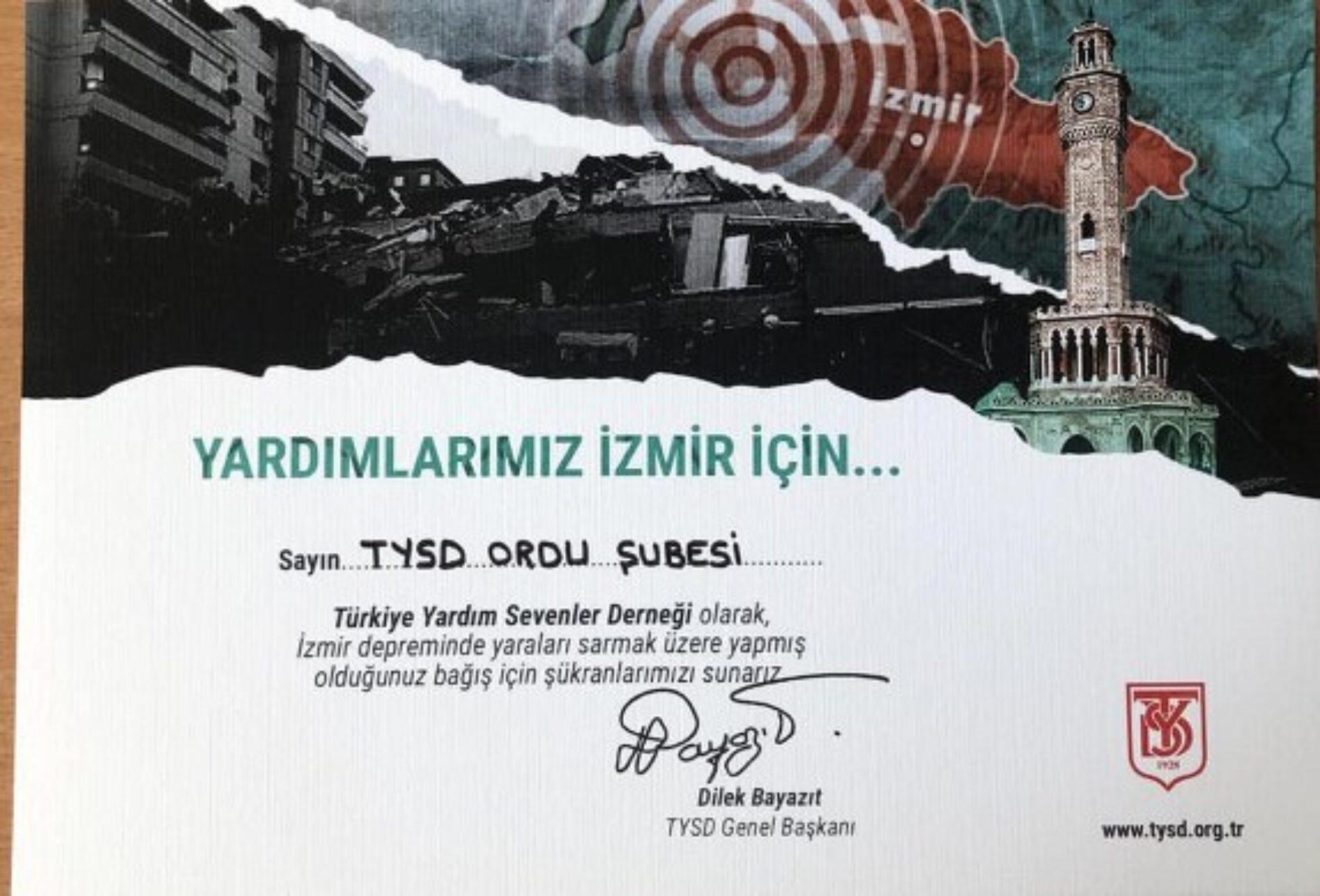 """TYSD Genel Merkezimizin """"Yardımlar İzmir İçin"""" Kampanyası Devam Etmektedir"""