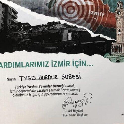 TYSD Genel Merkezimizin İzmir Depremi Yardımları İçin Teşekkür Kartları