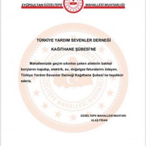 TYSD Kağıthane Şubemiz Geçim Sıkıntısı Geçen Ailelerimizin Borçlarını Ödemeye Devam Ediyor